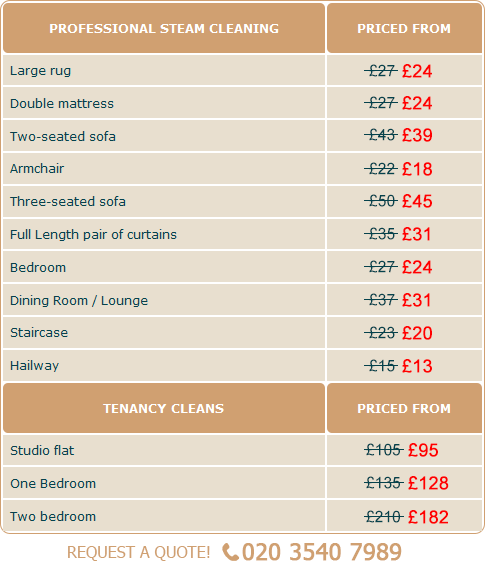 London Steam Cleaning Services Prices
